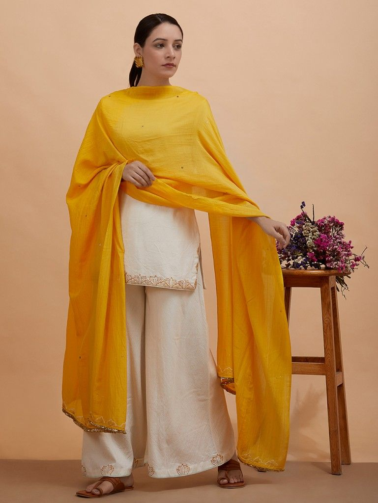 e39da006a0 Buy Off White Zari Hand Embroidered Cotton Moss Short Kurta with Palazzo  and Yellow Silk Dupatta- Set of 3 online at Theloom