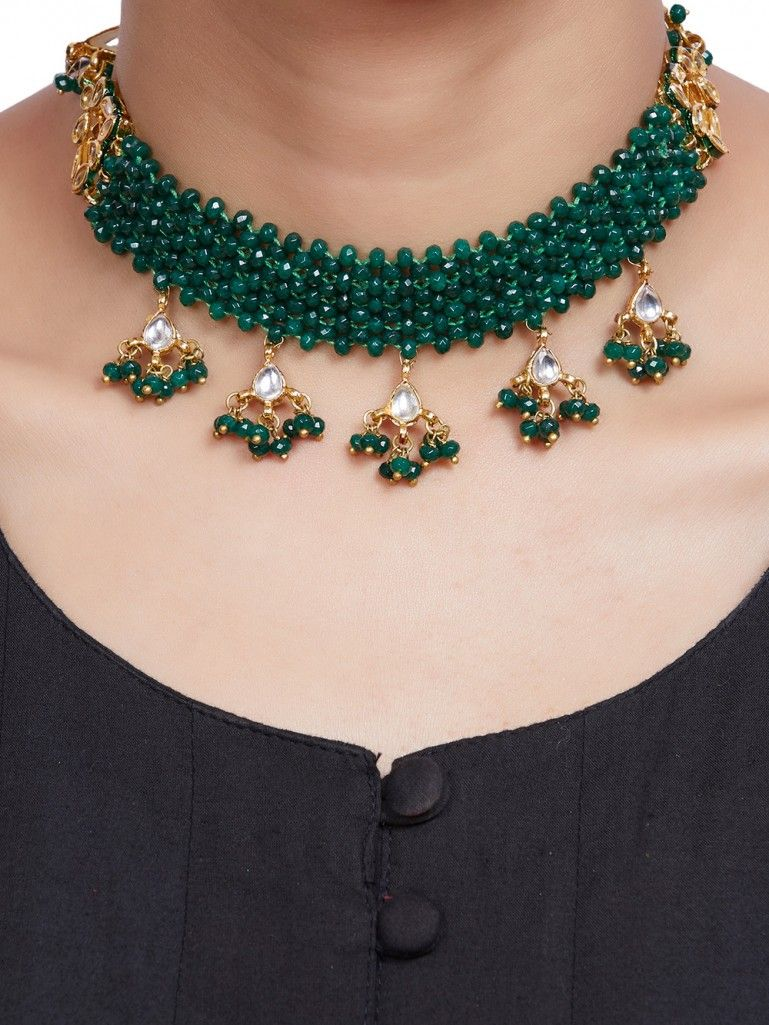 Green Onyx Gold Plated Kundan Handcrafted Choker Necklace