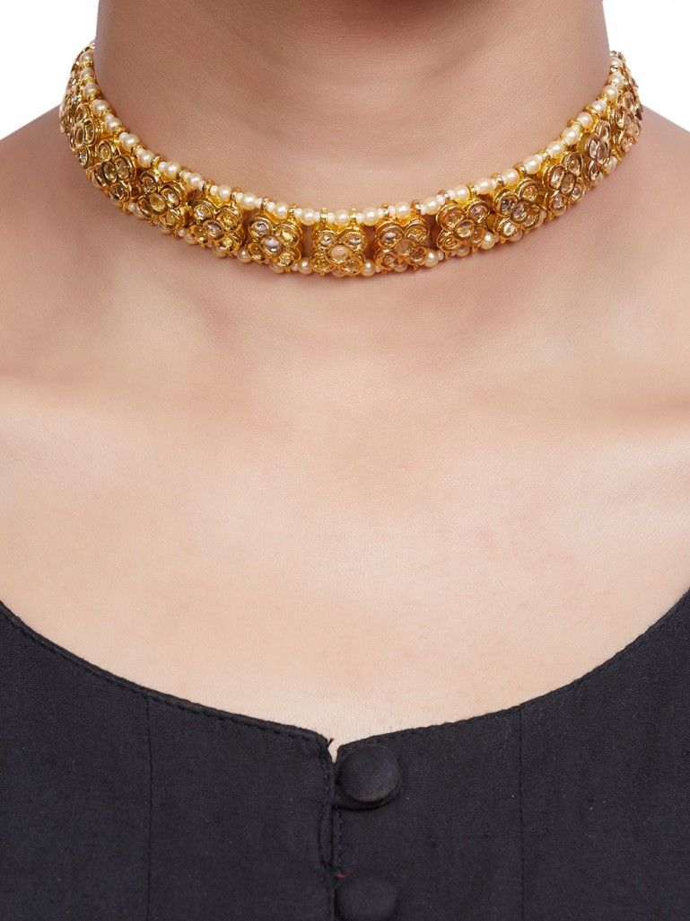 Buy Gold Plated Kundan Flower Choker Necklace Online At