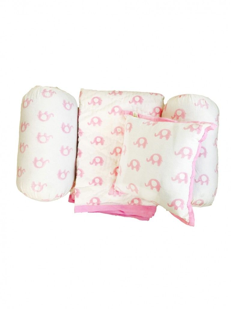 White Pink Hand Block Printed Cotton Bedding Set for Kids - Set of 4