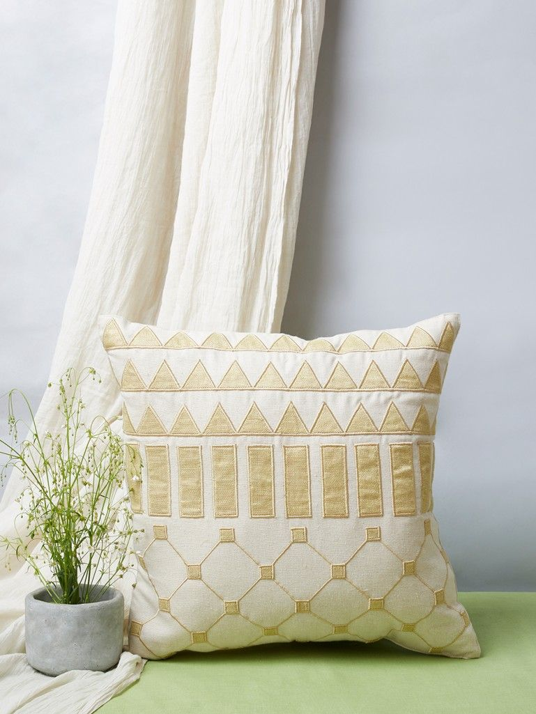 Off White Geometric Patchwork Linen Cushion Cover