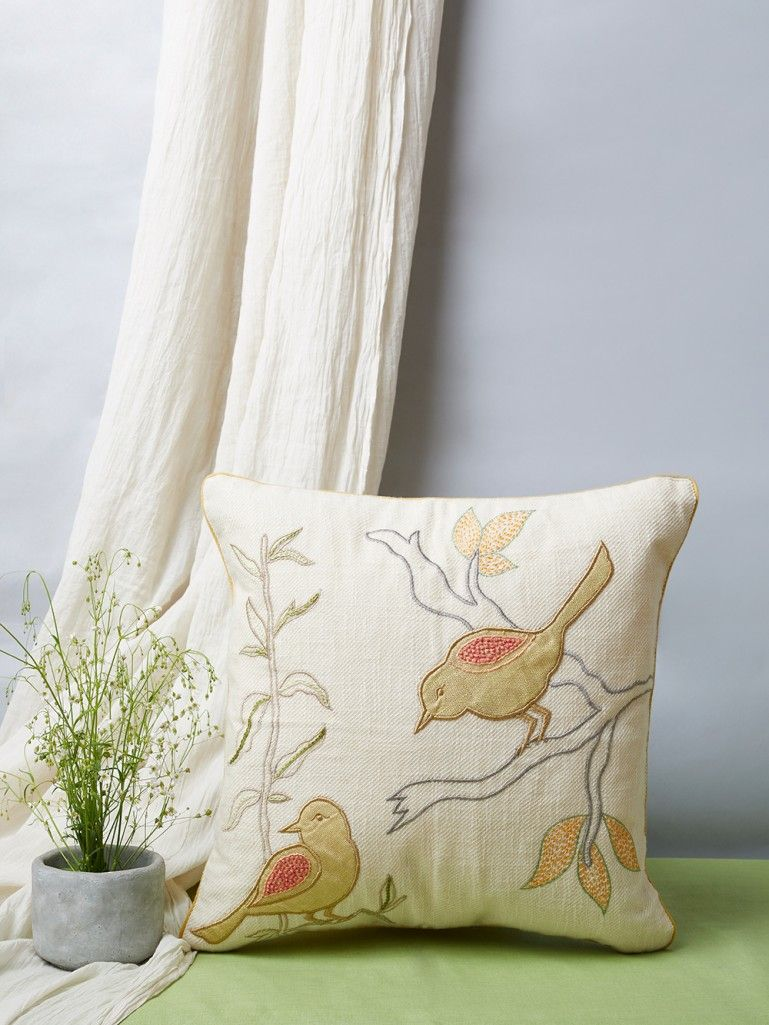 White Yellow Patchwork Cotton Linen Cushion Cover