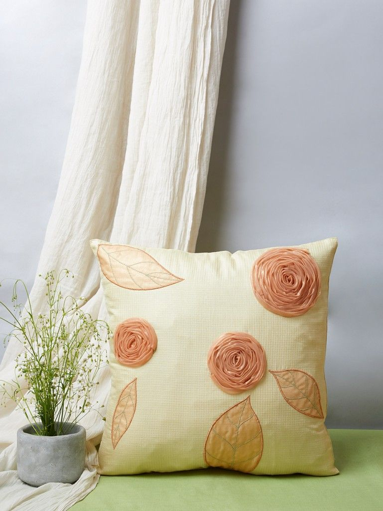 Yellow Embroidered Cotton Silk Cushion Cover