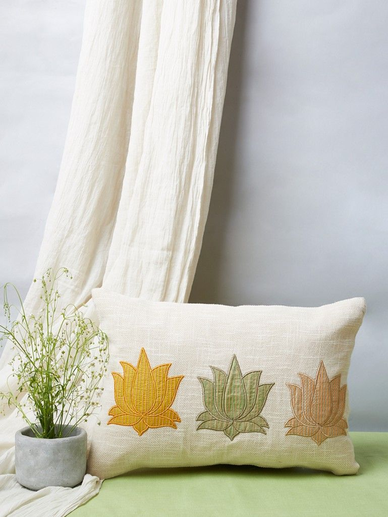 White Kantha Patchwork Linen Pillow Cover