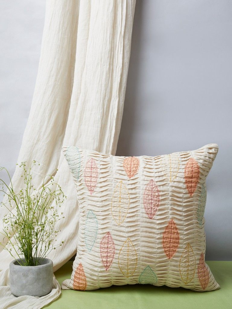 White Embroidered Cotton Cushion Cover