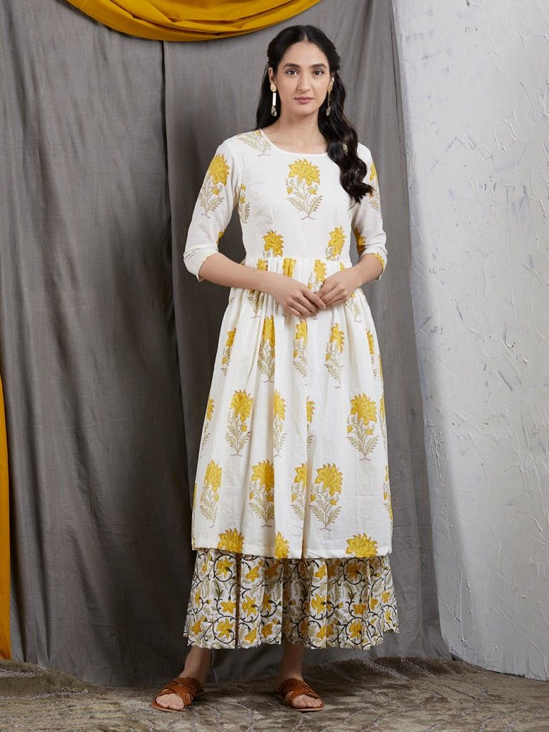 Ivory Yellow Hand Block Printed Mulmul Double Layered Dress