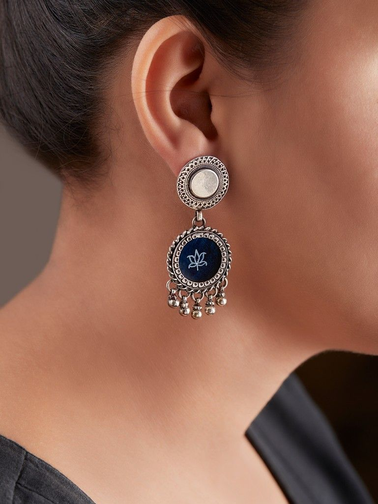 Blue Handcrafted Double Circle Silver Earrings
