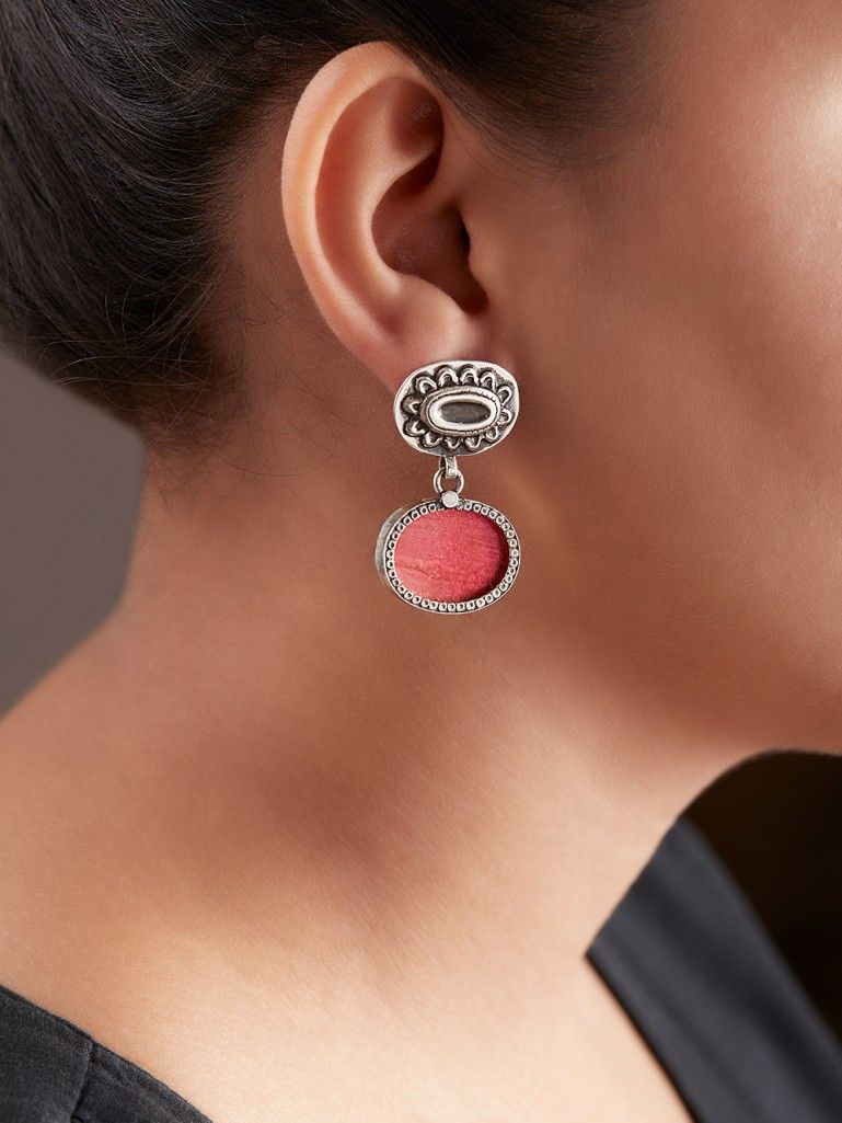 Pink Handcrafted Double Oval Silver Earrings