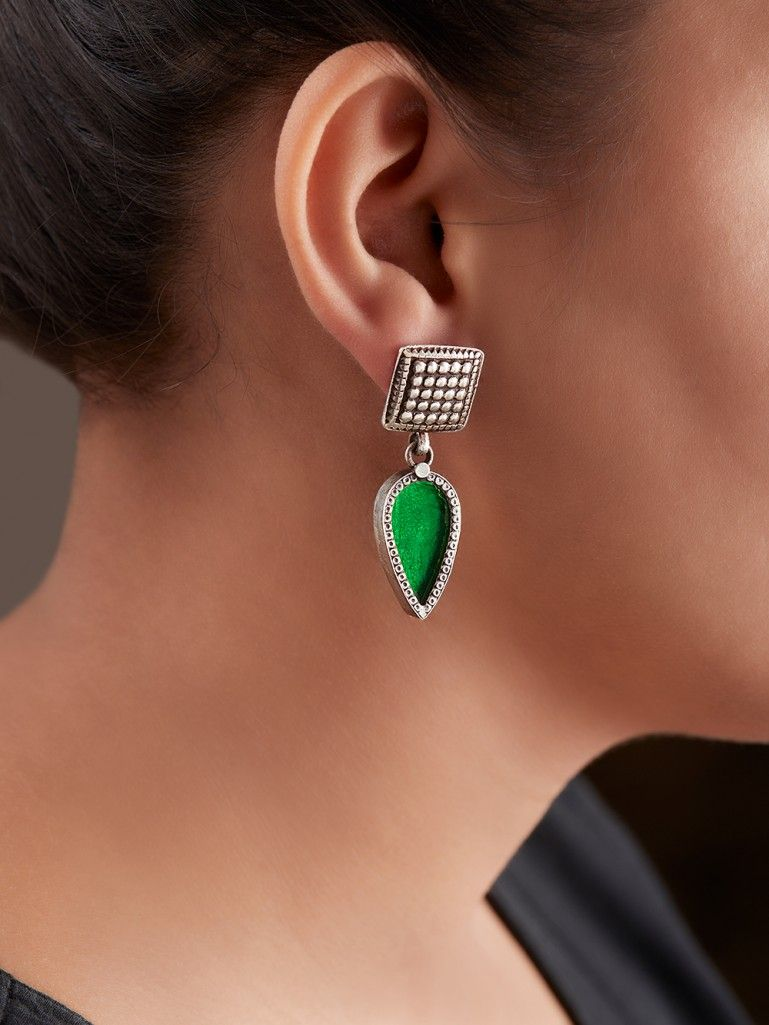 Green Handcrafted Square Drop Silver Earrings