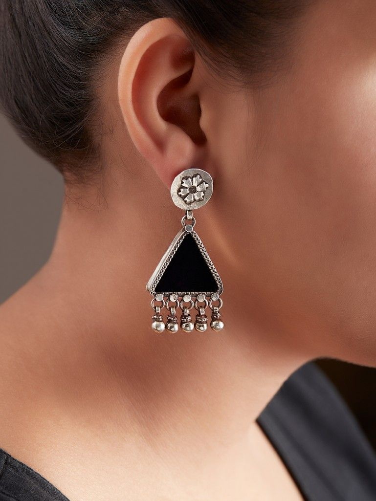 Black Handcrafted Triangle Silver Earrings