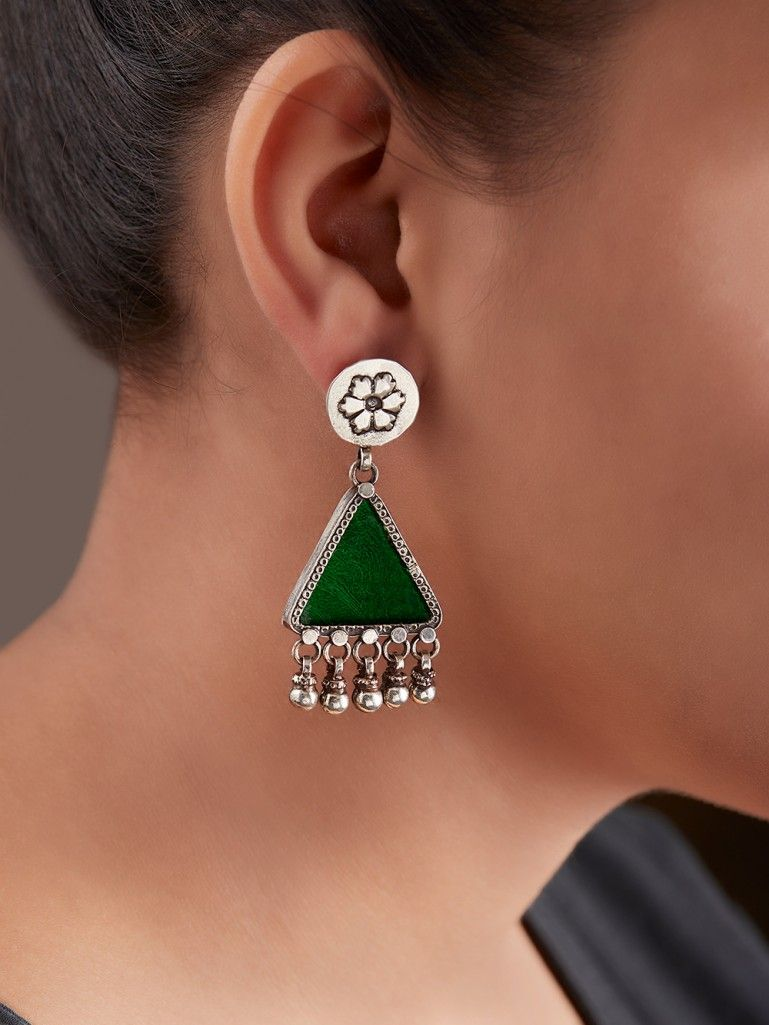 Green Handcrafted Triangle Silver Earrings