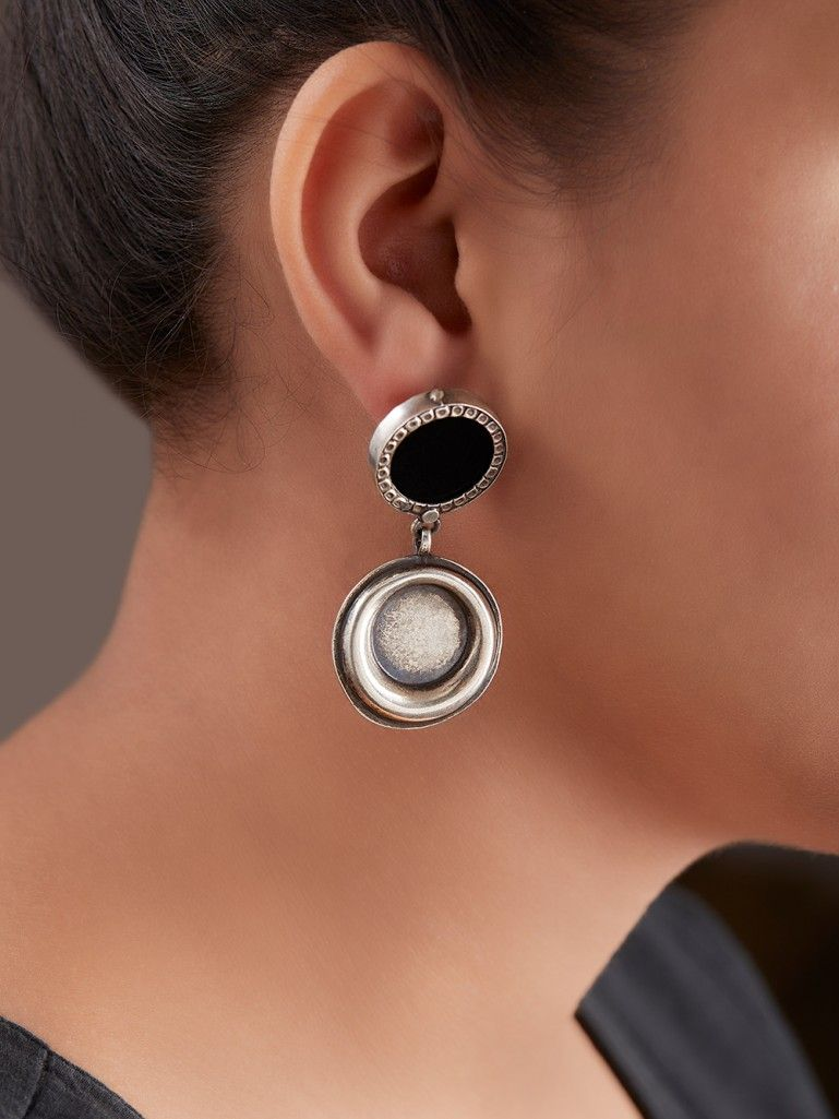 Black Handcrafted Double Circle Silver Earrings