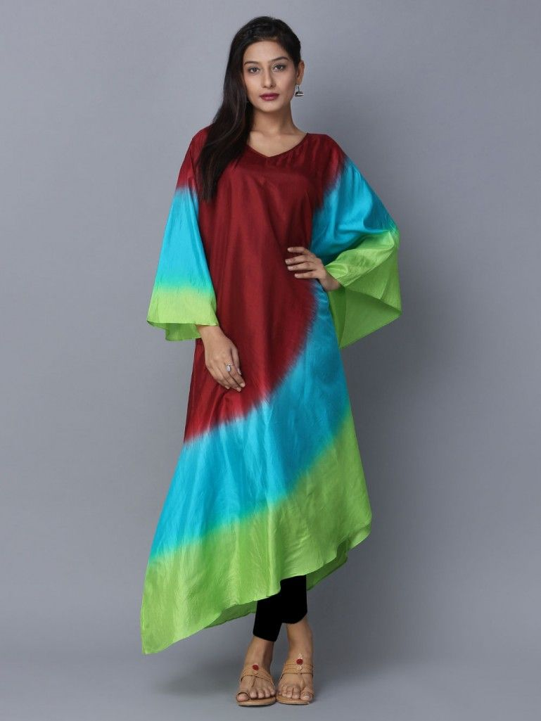 Buy Brown Blue Green Ombre Silk Kaftan Online At Theloom