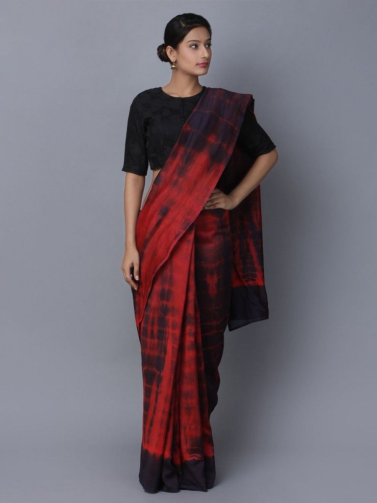 12253813b Buy Red Black Tie and Dye Chanderi Silk Saree online at Theloom