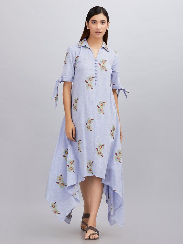 Powder Blue Hand Block Printed Khadi Cotton Asymmetric Dress
