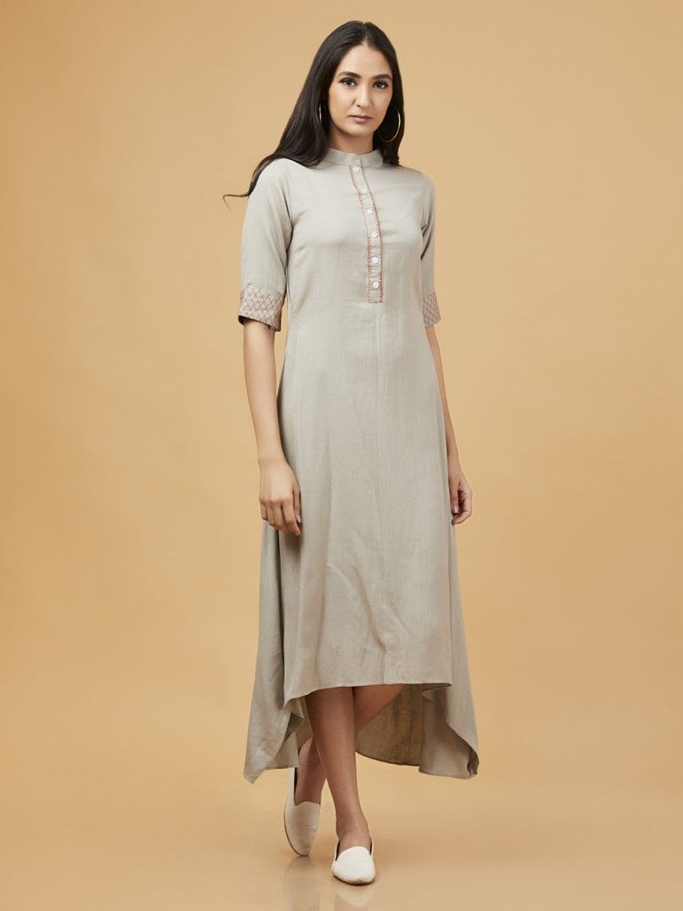 e3028db497 Buy Grey Cotton Linen High Low Dress online at Theloom