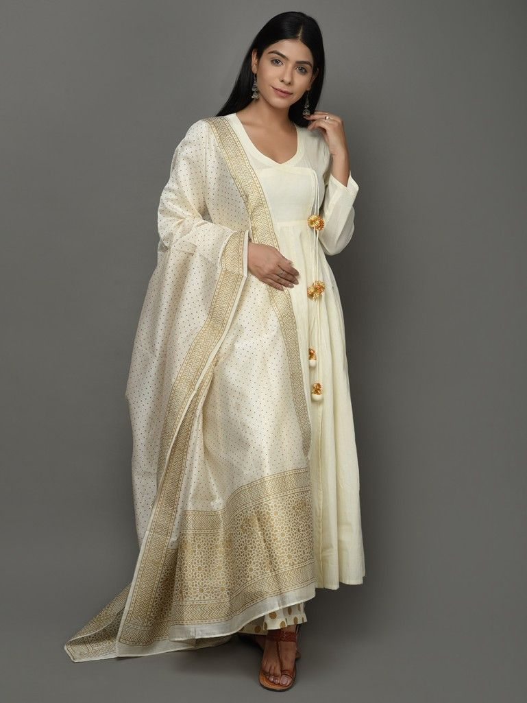 2c815e93ac4c Buy Off White Golden Angrakha Cotton Anarkali Suit - Set of 3 online at  Theloom