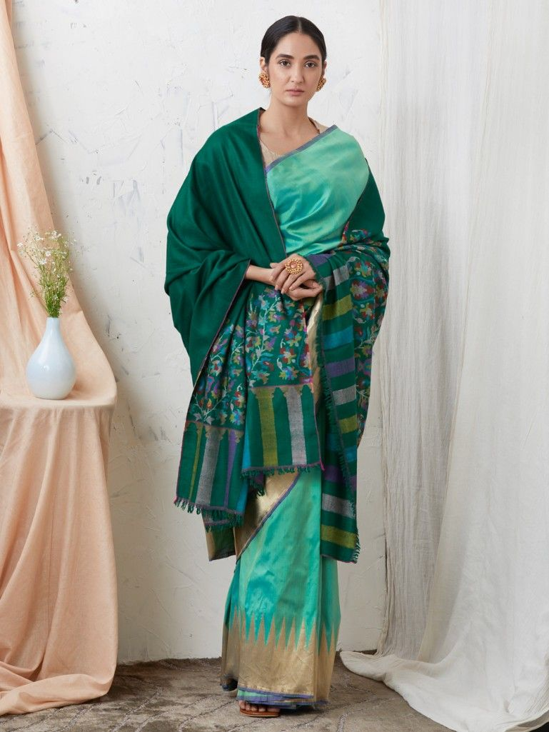 Emerald Green Kani Border Cashmere Shawl