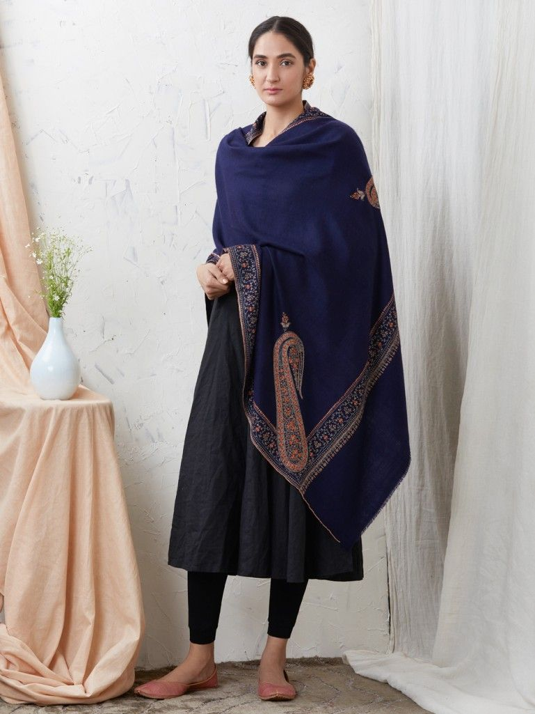 Navy Blue Hand Embroidered Cashmere Shawl