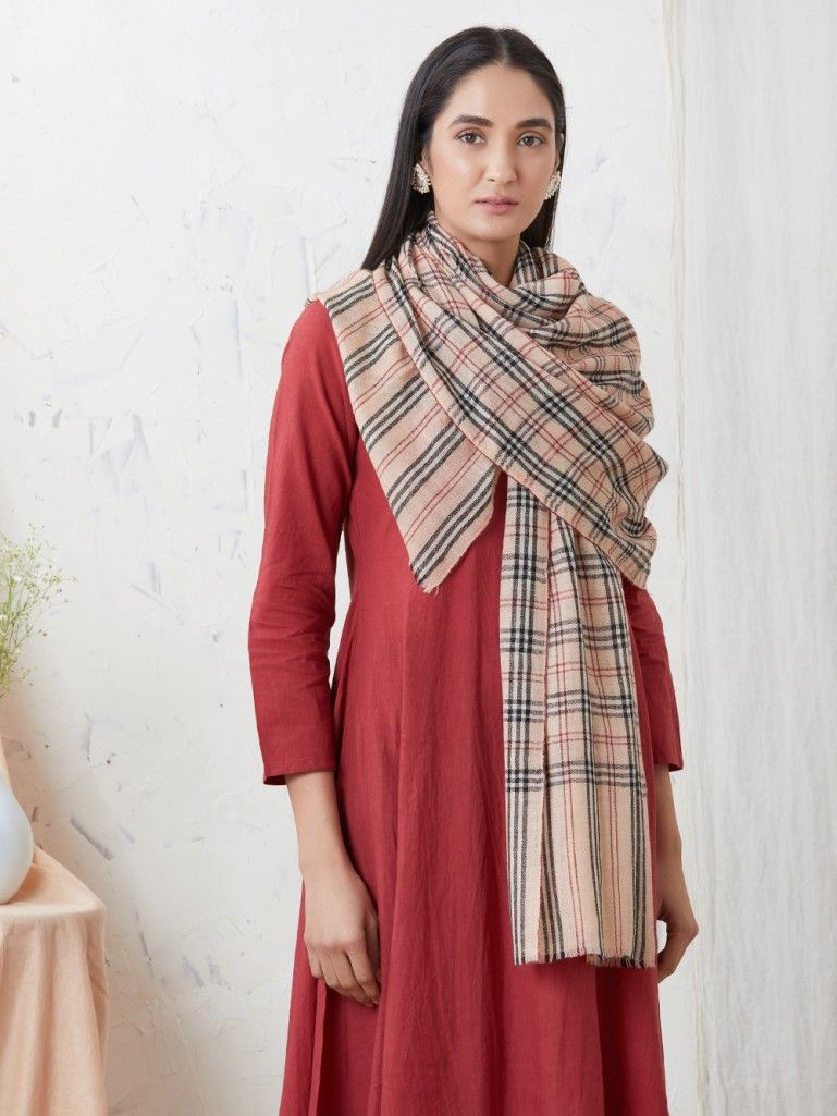 Black Old Rose Checkered Handwoven Cashmere Pashmina Stole