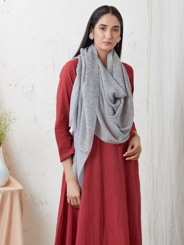 Light Blue Handwoven Cashmere Pashmina Stole