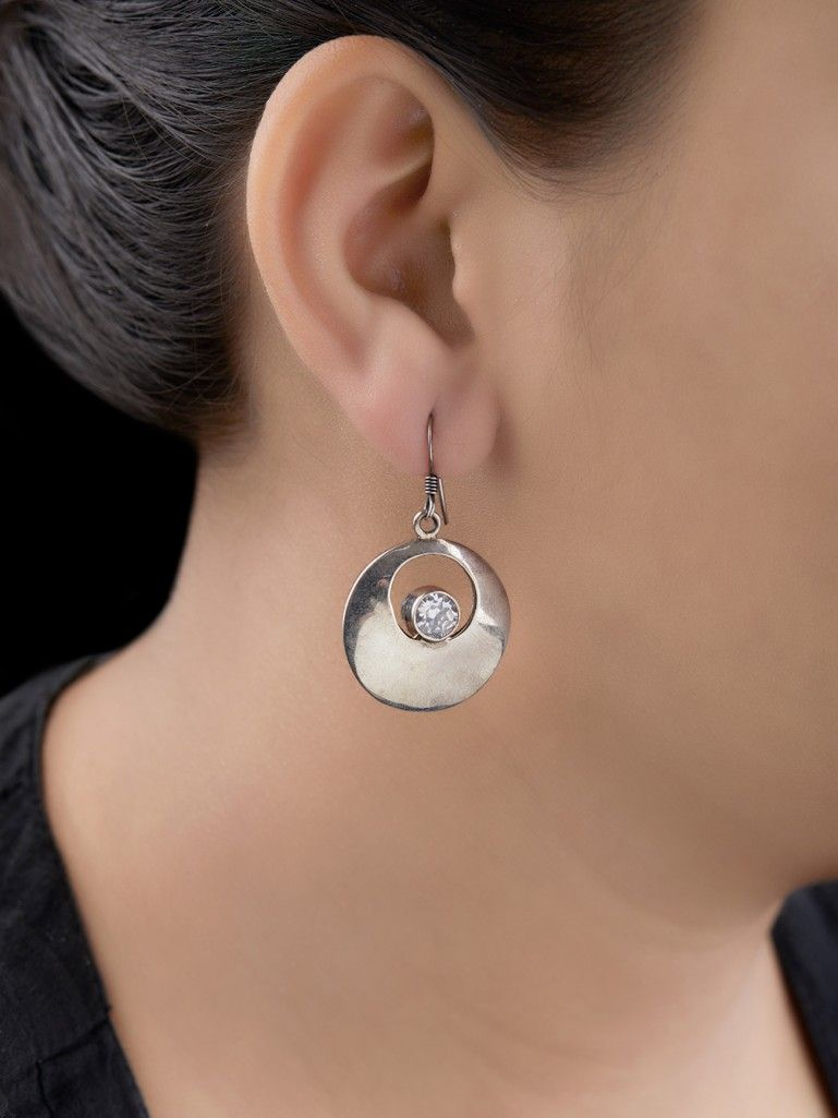 Silver Handcrafted Tribal Round Earrings