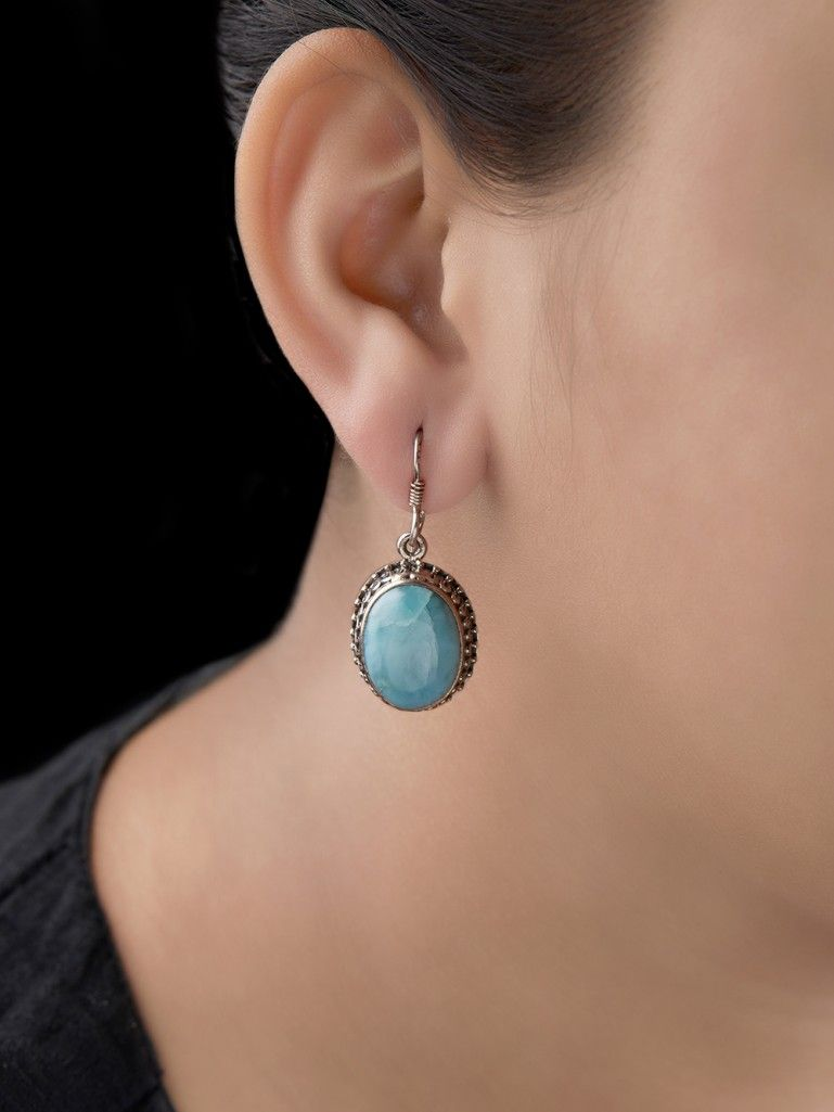 Turquoise Handcrafted Silver Earrings
