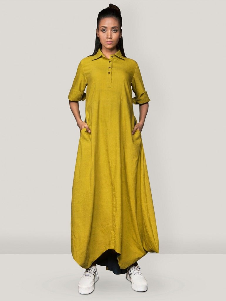f4436b78af1 Buy Mustard Yellow Khadi Cowl dress online at Theloom