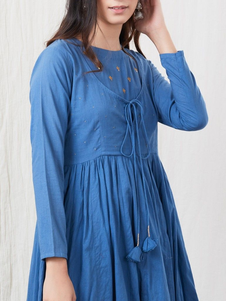 Blue Hand Embroidered Cotton Kurta