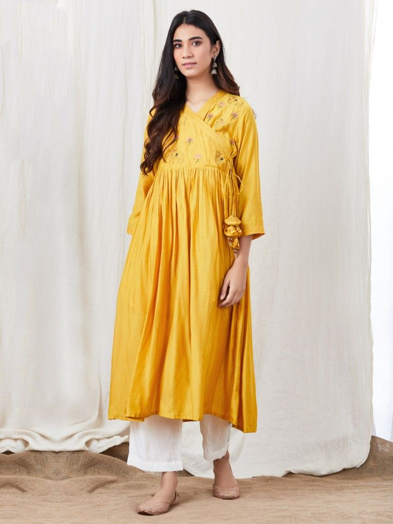 Yellow Zari Embroidered Cotton Silk Angrakha Kurta
