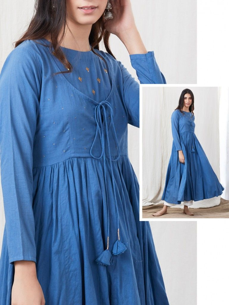 Blue Hand Embroidered Cotton Kurta with White Palazzo- Set of 2