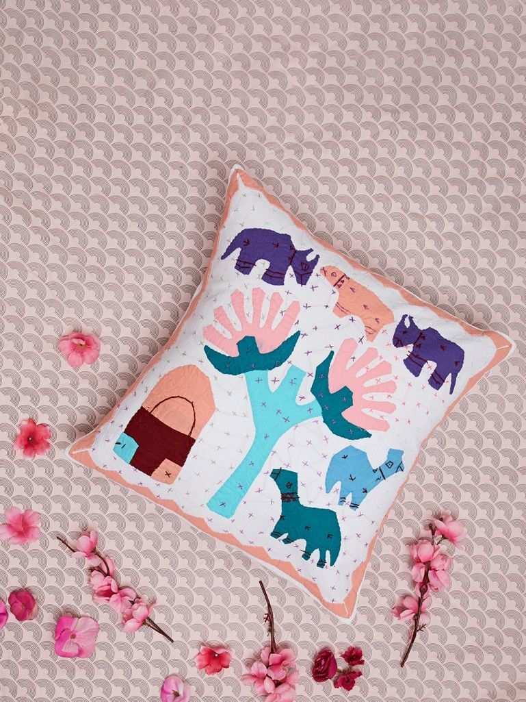 Multicolor Hand Embroidered Cotton Cushion Cover