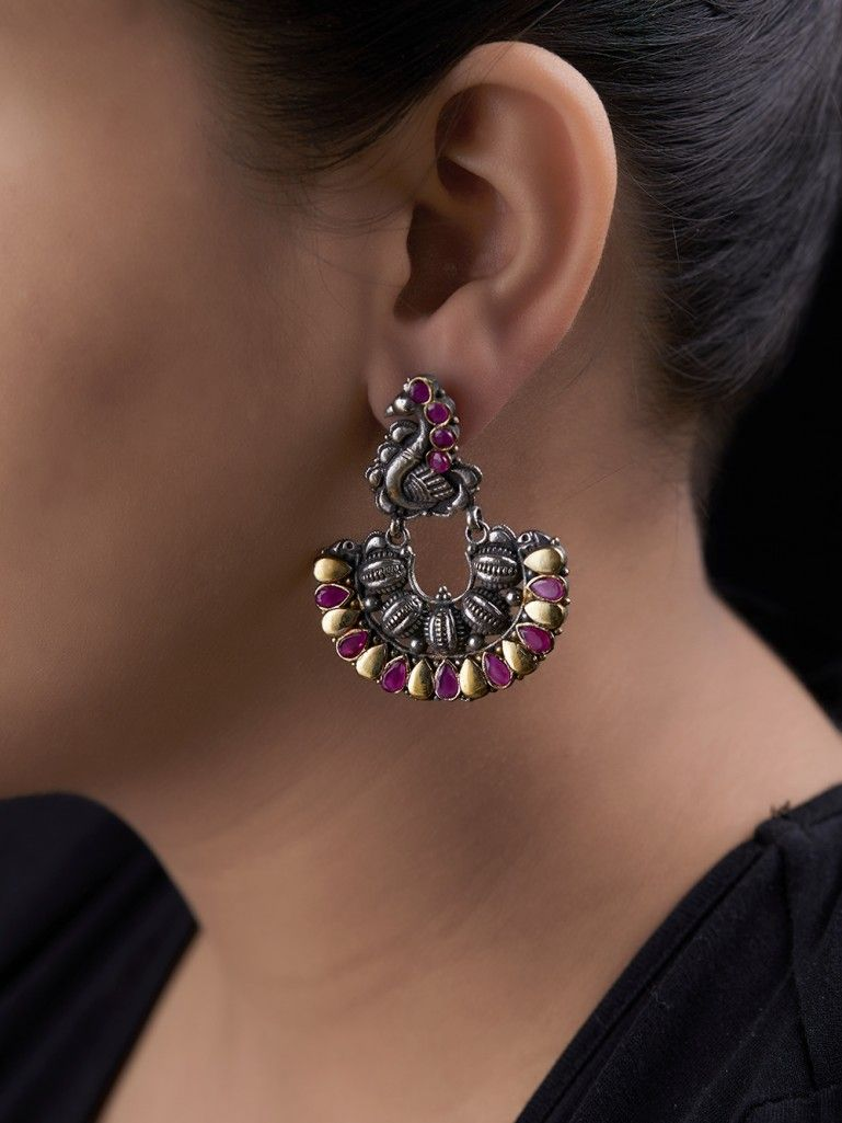 Dual Toned Pink Handcrafted Peacock Brass Earrings