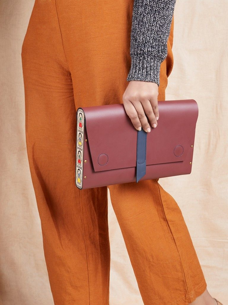 Wine Handcrafted Envelop Leather Clutch