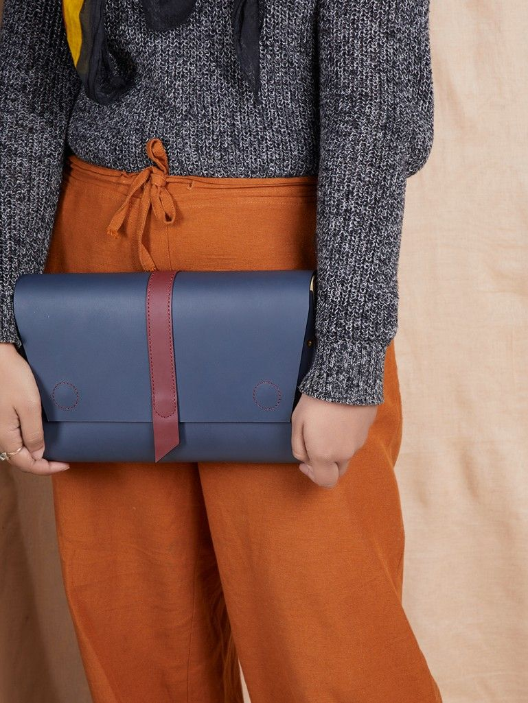 Blue Handcrafted Envelop Leather Clutch