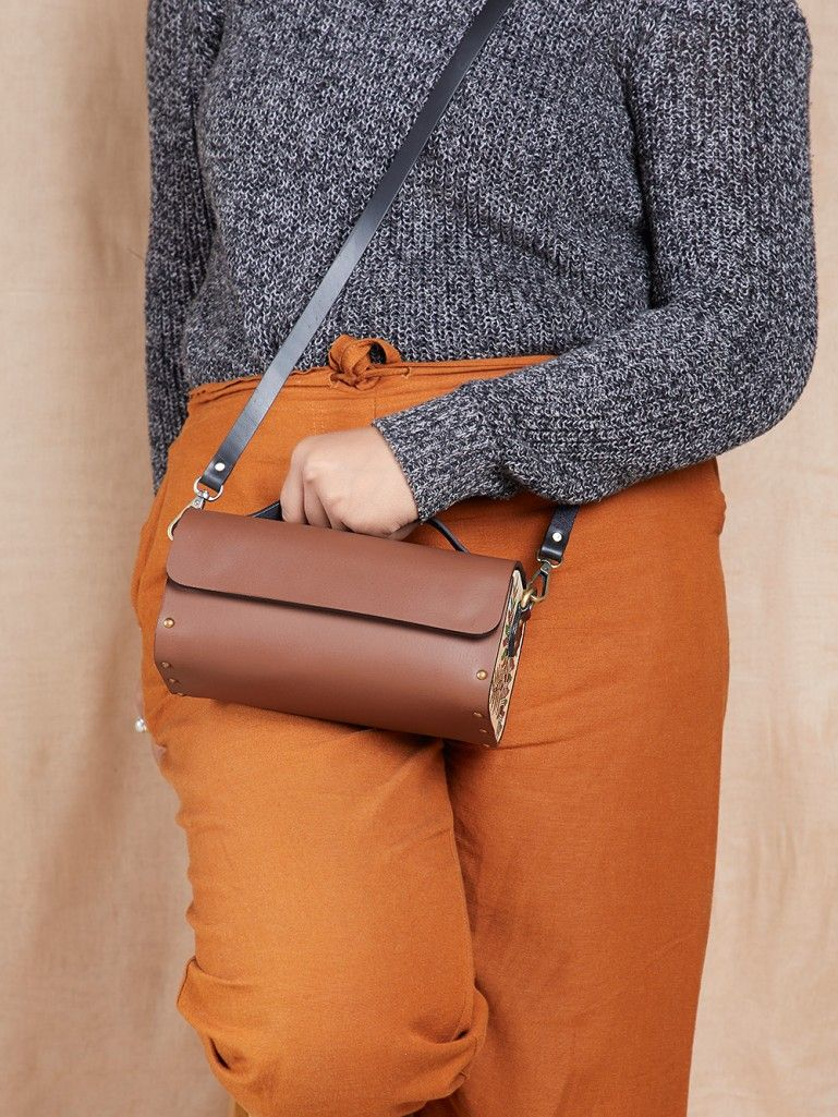 Tan Handcrafted Leather Tool Box Sling Bag