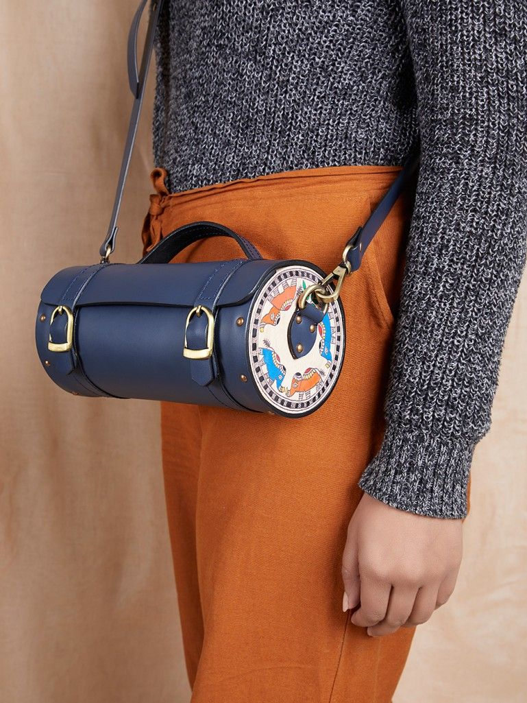 Blue Handcrafted Leather Cylindrical Sling Bag