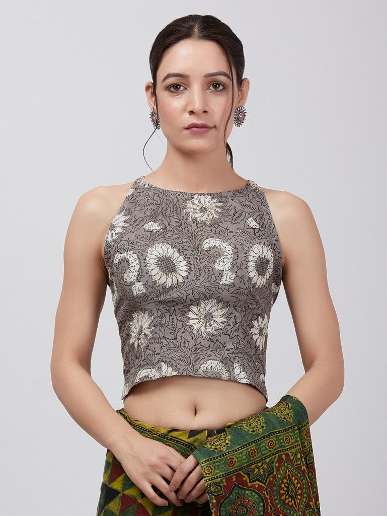 Grey Floral Printed Cotton Blouse