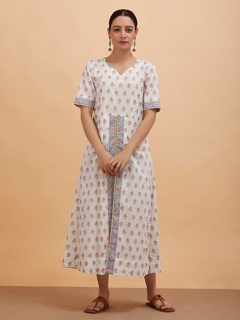 White Red Floral Printed Cotton Dress