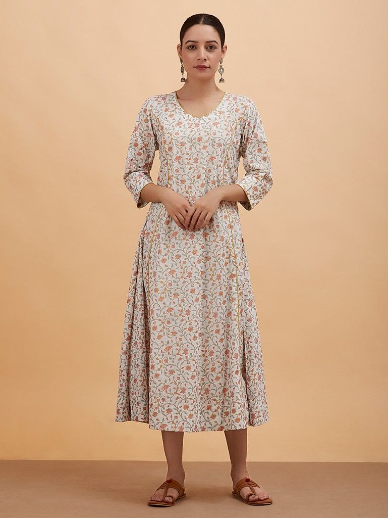 Multicolor Floral Printed Cotton Dress