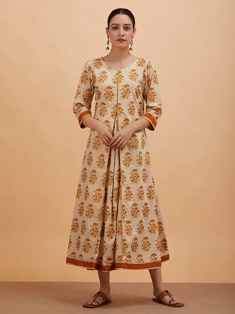Beige Printed Box Pleated Cotton Dress