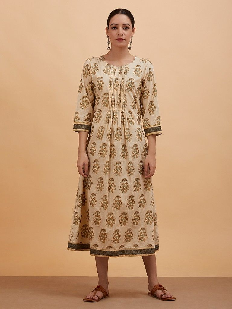 Beige Green Printed Pleated Cotton Dress