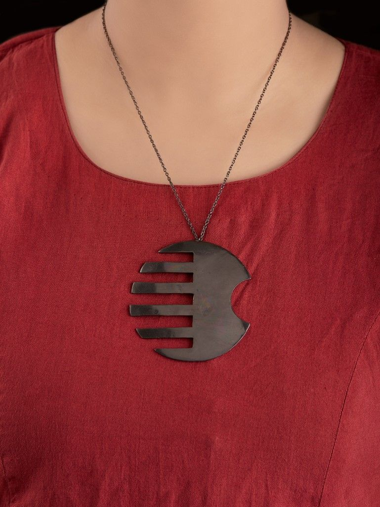 Black Handcrafted Brass Pendant Necklace