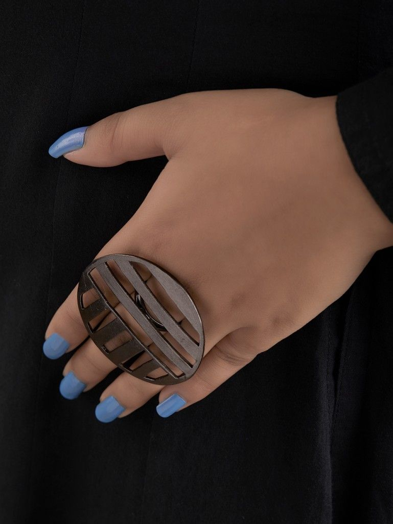 Black Handcrafted Brass Round Ring