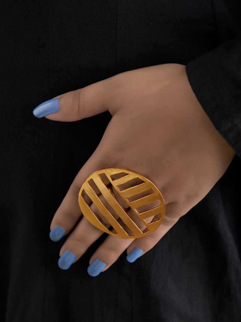 Gold Toned Handcrafted Brass Round Ring