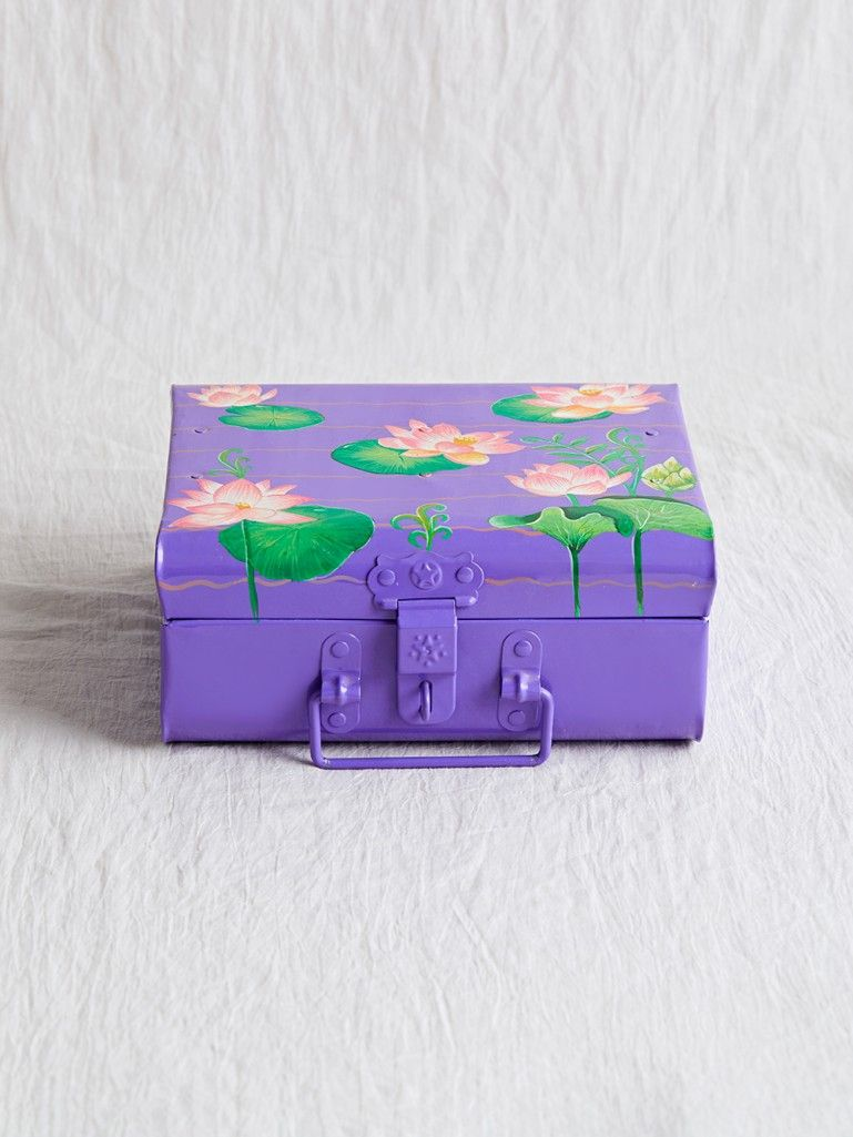 Violet Hand Painted Steel Trunk