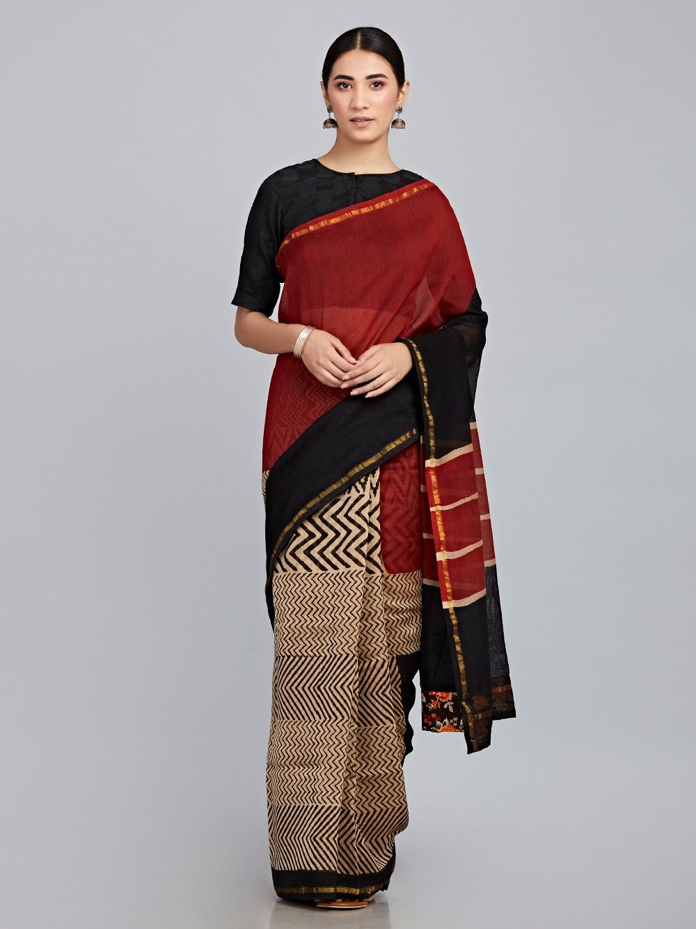 ad00d2e2f Buy Maroon Black Hand Block Printed Chanderi Silk Saree online at ...