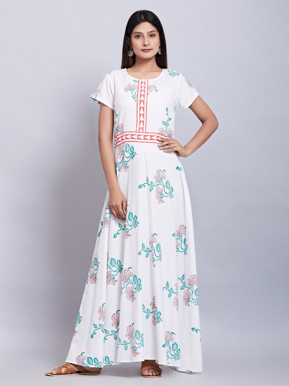 1050b3172a Buy White Block Printed Cotton Maxi Dress online at Theloom