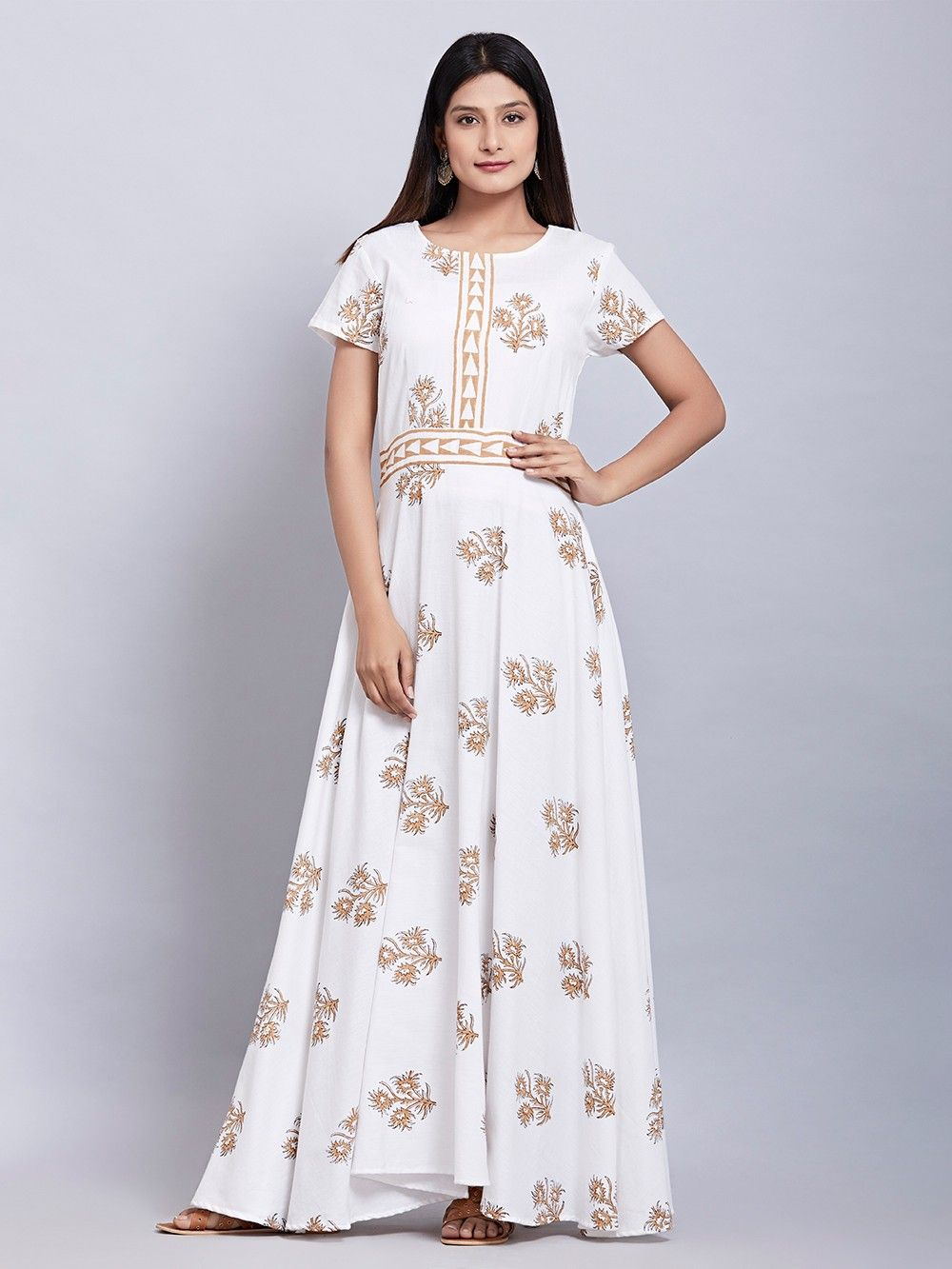 Buy White Beige Hand Block Printed Cotton Maxi Dress online at Theloom c728ecd13