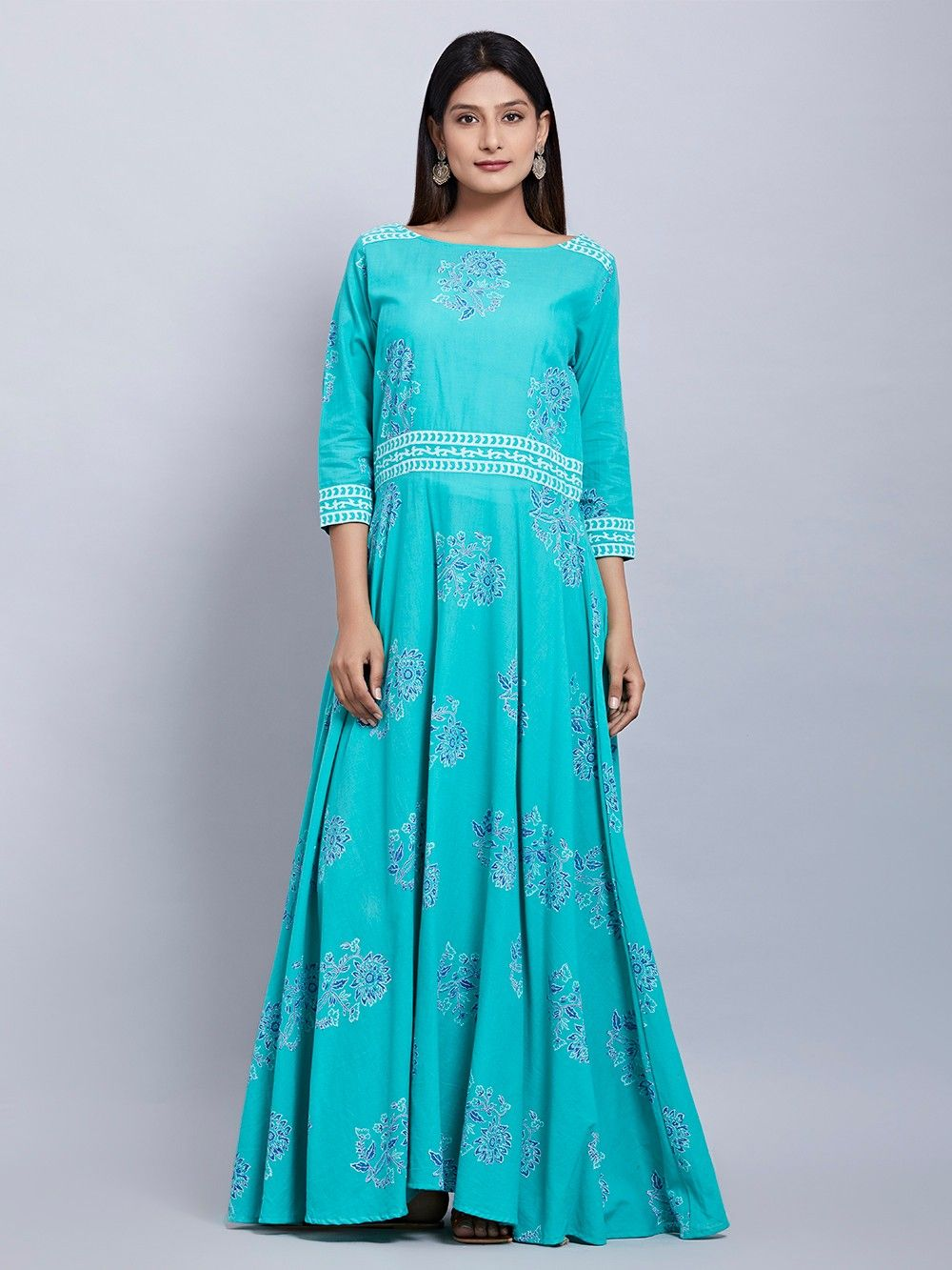 abbfeaa6c94f Buy Turquoise Hand Block Printed Cotton Maxi Dress online at Theloom